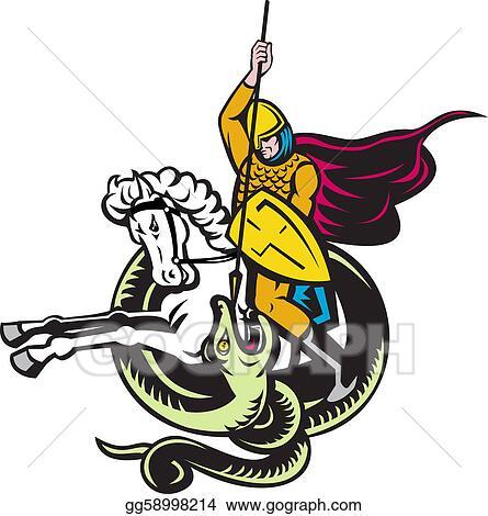 Clip Art - Knight riding horse fighting dragon snake  Stock