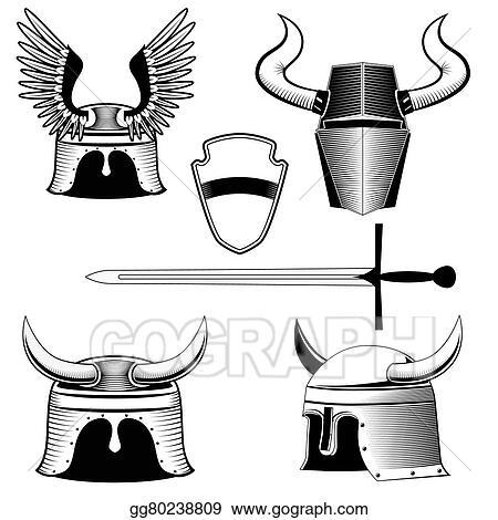 drawings knight s helmet shield and sword stock illustration