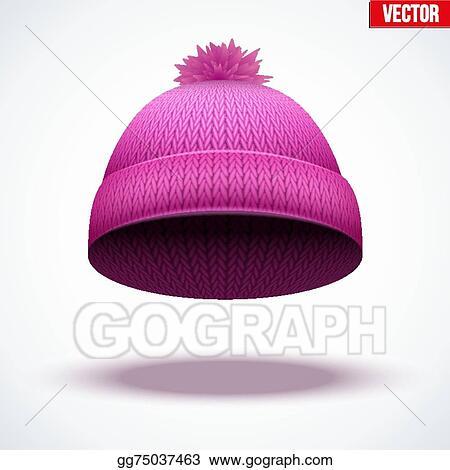 Vector Art - Knitted woolen cap. winter seasonal pink hat. vector ... 01b27c5c11b