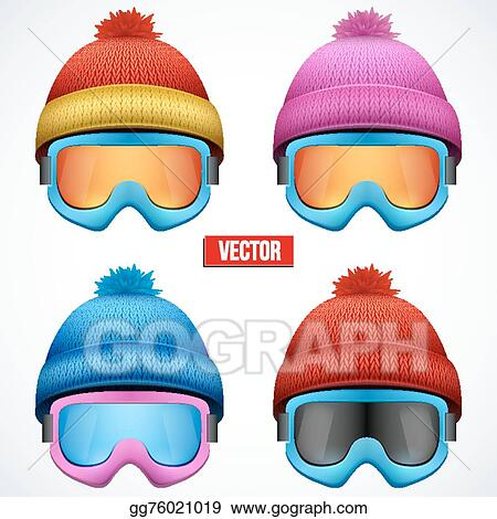 b996c68acd07 Vector Stock - Knitted woolen cap with snow goggles. winter seasonal ...