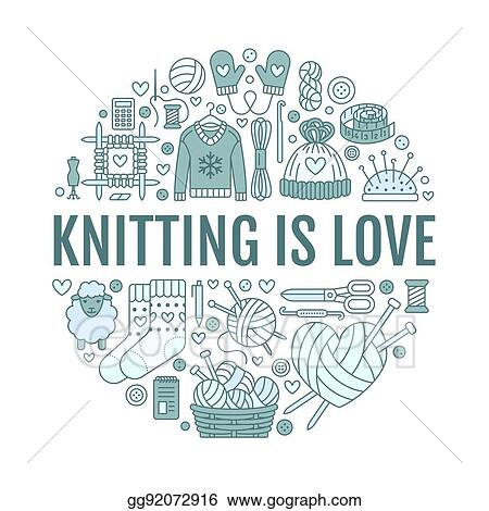 EPS Illustration - Knitting, crochet, hand made banner illustration ...