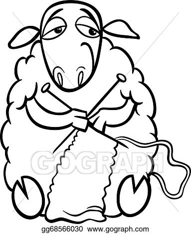 vector illustration knitting sheep coloring page stock clip art rh gograph com