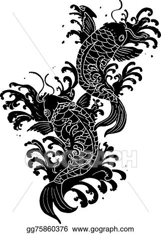 Eps Vector Koi Fish Tattoo Stock Clipart Illustration Gg75860376