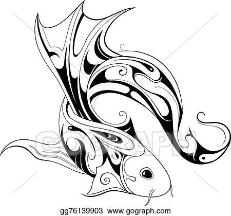 Vector Illustration Koi Fish Tattoo Stock Clip Art Gg76139903