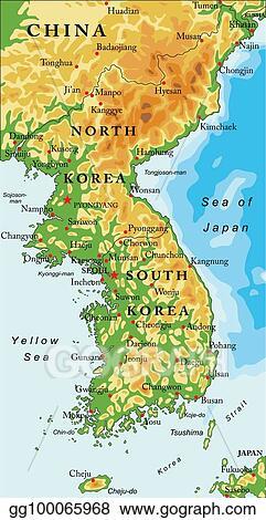 Map Of Asia Korean Peninsula.Vector Art Korean Peninsula Relief Map Eps Clipart Gg100065968