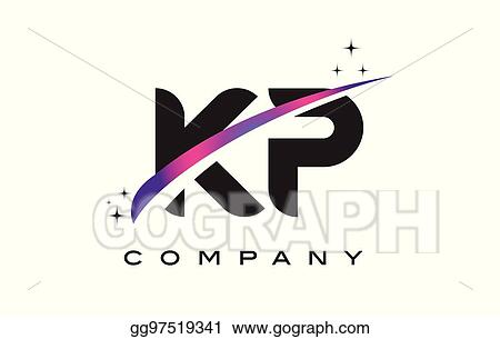 KP K P Black Letter Logo Design With Purple Magenta Swoosh