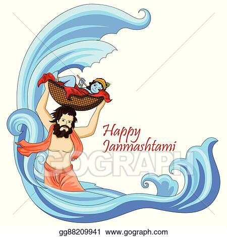Vector Art Krishna With Flute On Happy Janmashtami
