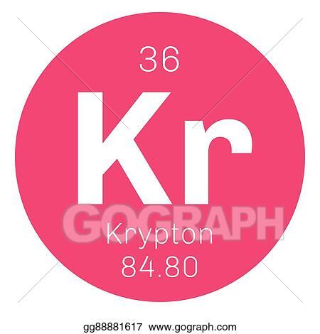 Eps Vector Krypton Chemical Element Stock Clipart Illustration