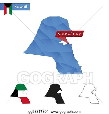Vector Stock - Kuwait blue low poly map with capital kuwait