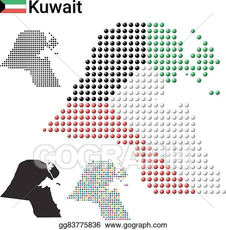 Vector Art - Kuwait map vector color dotted design. Clipart Drawing ...