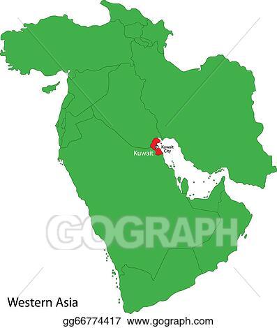 EPS Illustration - Kuwait map. Vector Clipart gg66774417 ...