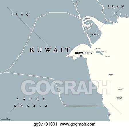 Vector Stock - Kuwait political map  Stock Clip Art gg97731301 - GoGraph