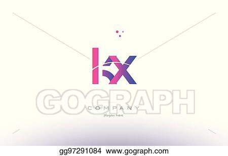 Vector Illustration Kx K X Pink Modern Creative Alphabet Letter