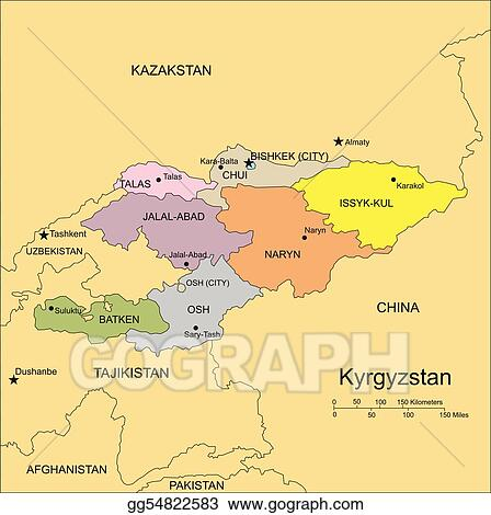 Clip Art Vector - Kyrgystan, administrative districts, capitals and ...
