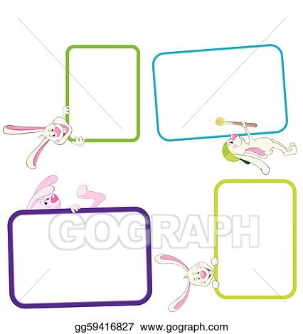 Vector Art - Label frame rabbit. Clipart Drawing gg59416827 - GoGraph