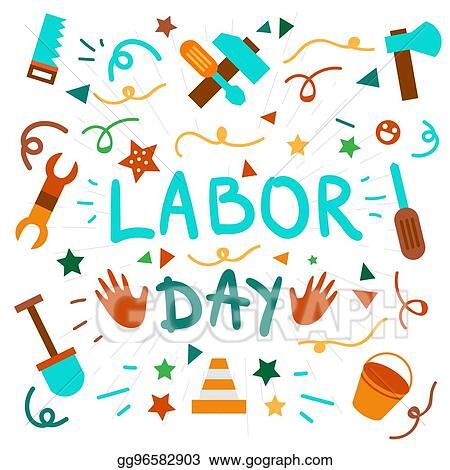 May first day. Vector clipart labor illustration