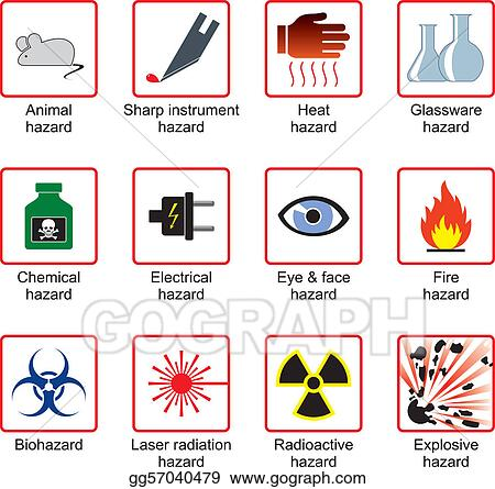 Vector Art Laboratory Safety Symbols Clipart Drawing Gg57040479