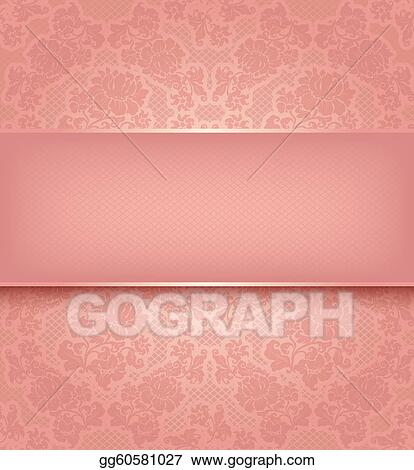EPS Illustration - Lace template, ornamental pink flowers background ...