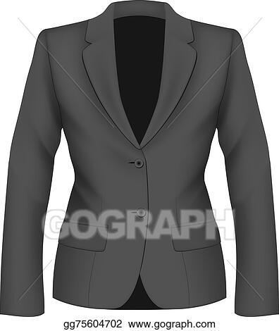 Eps Illustration Ladies Black Suit Jacket Vector Clipart