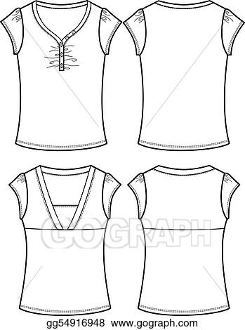 Drawings - Lady casual tops  Stock Illustration gg54916948 - GoGraph