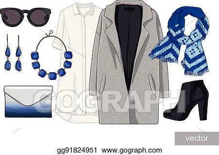 Vector Stock Lady Fashion Set Of Autumn Winter Season