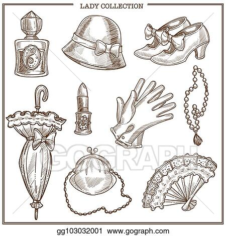 6c35cbae1d Lady retro clothes and woman vintage fashion accessories vector sketch icons