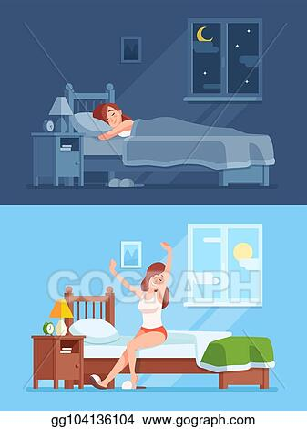 Lady Sleeping Under Duvet At Night Waking Up In Morning And Stretching Sitting On Mattress Woman Sleep Bed Cartoon Vector Concept