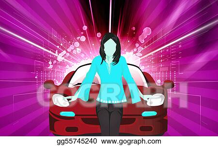 Stock Illustration Lady Standing Near A Luxury Car Clipart