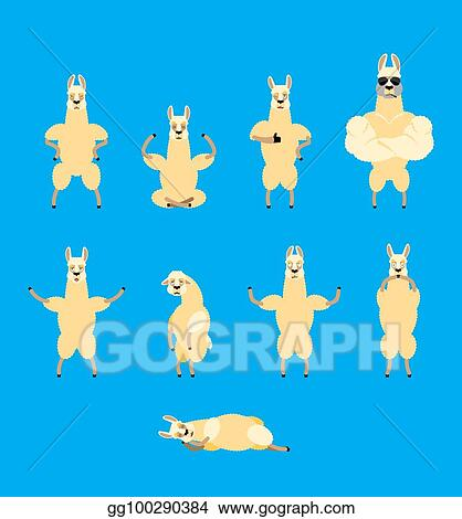 Lama Alpaca set poses and motion. Animal happy and yoga. Beast sleeping and  angry. guilty and sad. Vector illustration 965d072f4338