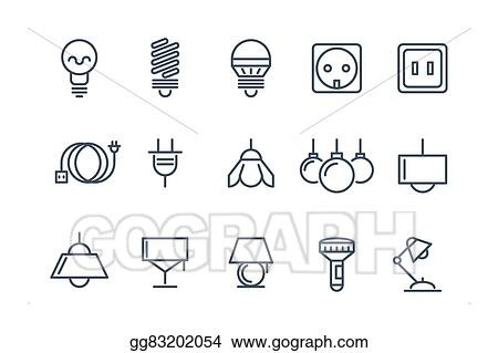 Vector Clipart Lamp And Bulbs Line Vector Icons Set Electrical