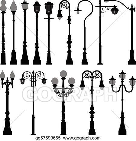 Vector Illustration Lamp Post Lamppost Street Light Eps Clipart
