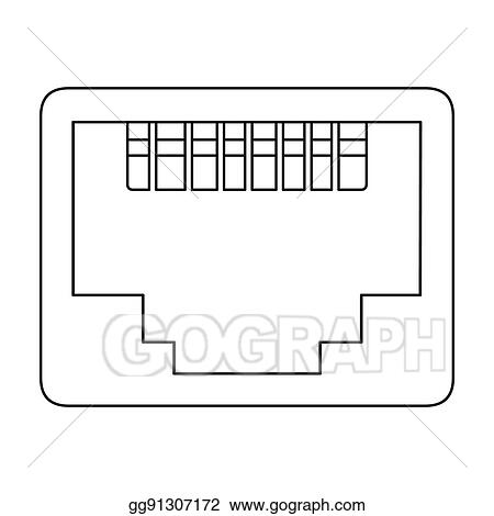 Clip Art Lan Port Icon In Outline Style Isolated On White