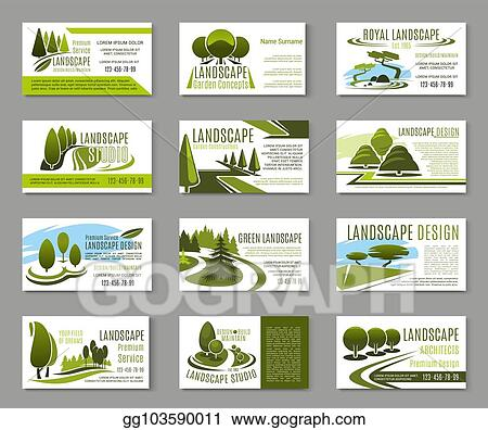 Vector Stock - Landscape design studio business card template. Stock ...