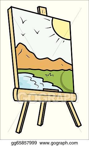 clip art vector landscape drawing on painting easel stock eps rh gograph com art easel clipart free Art Show Clip Art