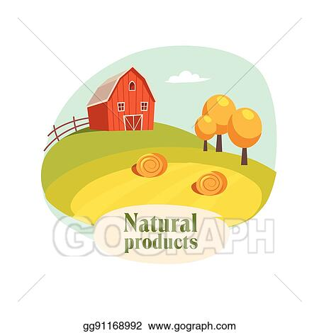 Landscape With Barn Field And Hay Stacks Farm Farming Related Illustration In Bright Cartoon Style