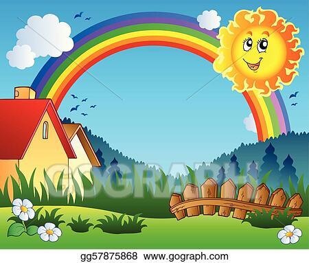 Vector Art Landscape With Sun And Rainbow Ilration Eps Clipart Gg57875868