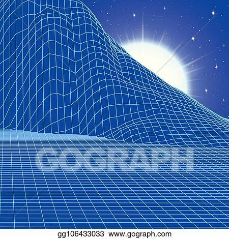 EPS Illustration - Landscape with wireframe grid of 80s