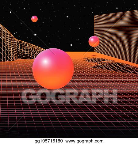 Vector Stock - Landscape with wireframe grid of 80s styled