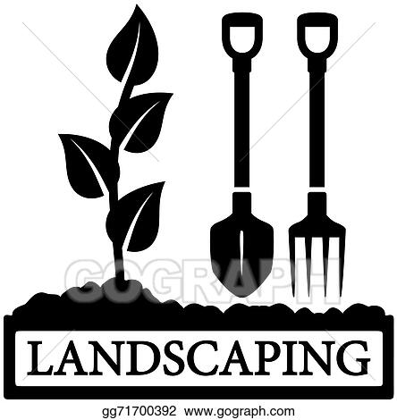 vector art landscaping icon with sprout and gardening tools rh gograph com landscaping clip art free landscape clip art free downloads