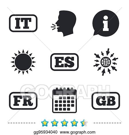 Eps Vector Language Icons It Es Fr And Gb Translation Stock Clipart Illustration Gg95934040 Gograph