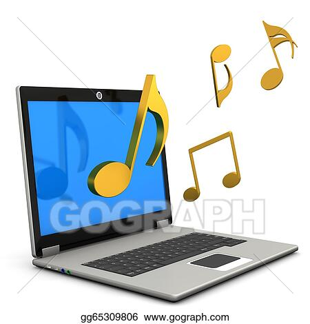 Drawings - Laptop music notes. Stock Illustration gg65309806 - GoGraph