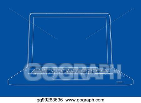 EPS Illustration - Laptop sketch  vector  Vector Clipart