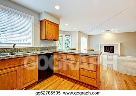 Stock Photography Large Empty Open Kitchen With Living