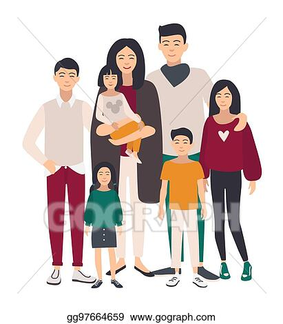 Vector Stock Large Family Portrait Asian Mother Father And Five