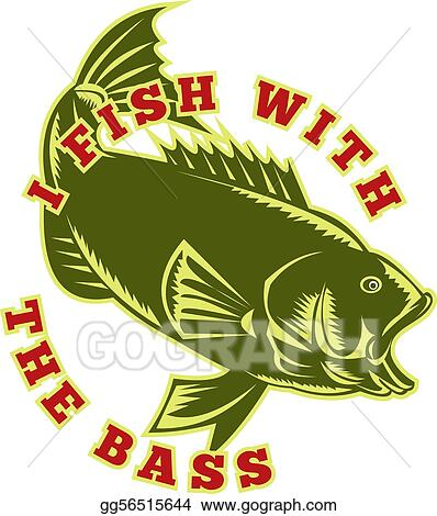 Stock Illustration Largemouth Bass Fish Jumping Clipart Drawing