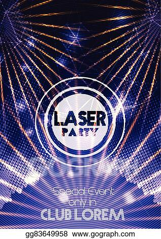 Clip Art Vector - Laser disco party poster background  Stock