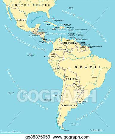 Vector Art - Latin america political map. Clipart Drawing gg88375059 ...