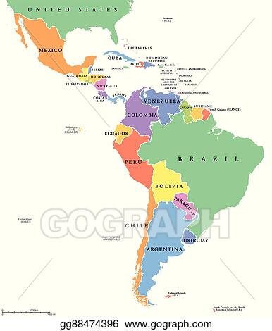 Vector Art - Latin america single states map. EPS clipart ...