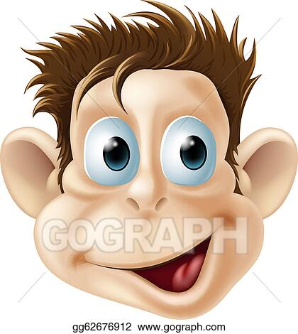 Vector Art Laughing Happy Monkey Face Cartoon Clipart Drawing