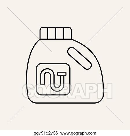 Laundry Detergent Clipart vector art - laundry detergent line icon. clipart drawing